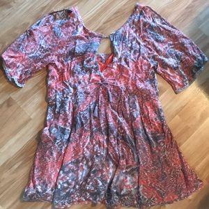 Free People flowy orange and grey dress